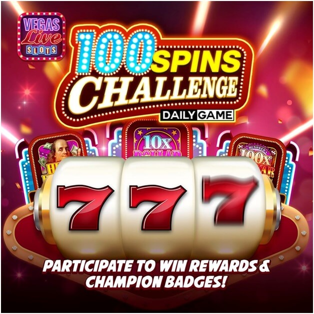 100 Spins challenge in Vegas live slots game app