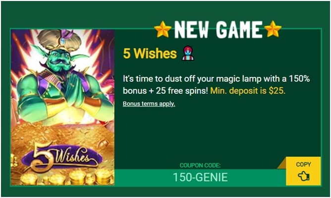 5 Wishes slot- Fair Go Casino