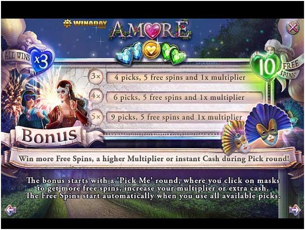Amore slot game features