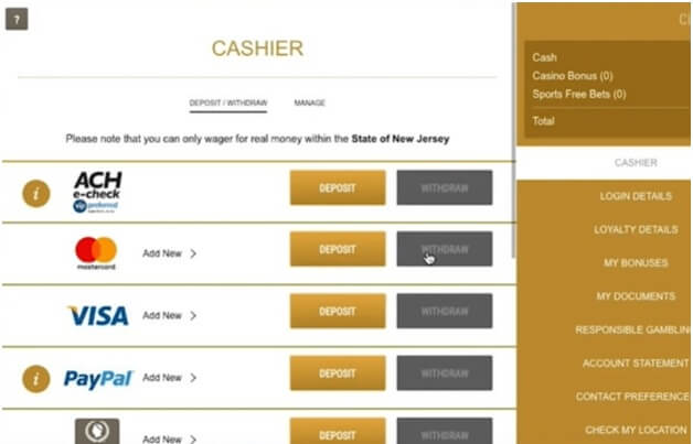 Caesars Casino online- How to make a deposit