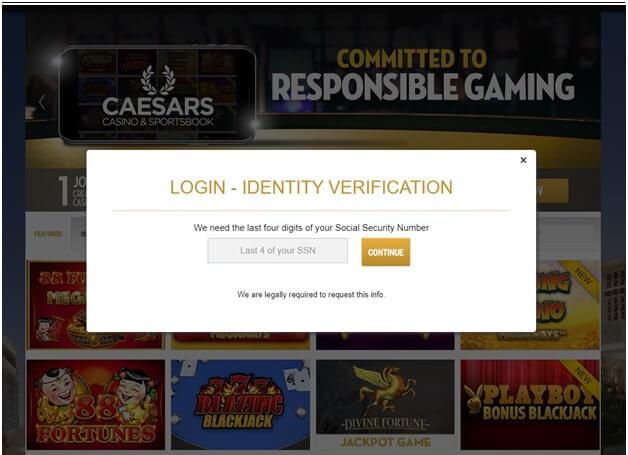 Caesars Casino online- login