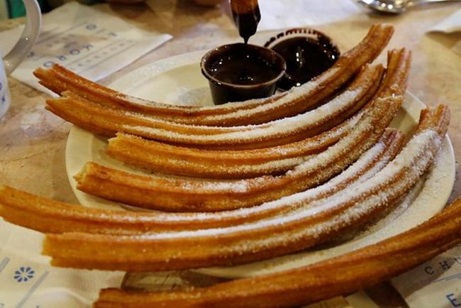 Churros dipped in chocolate at El Moro