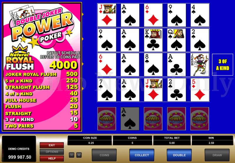 Double joker power poker multihand poker game