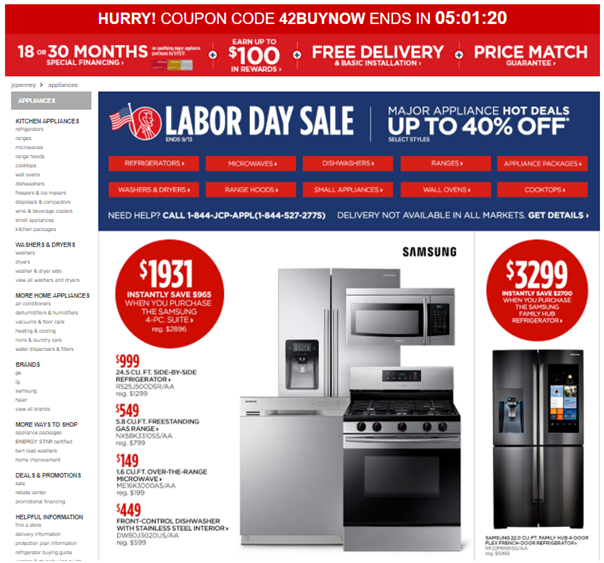 Labor day deal at JC Penny