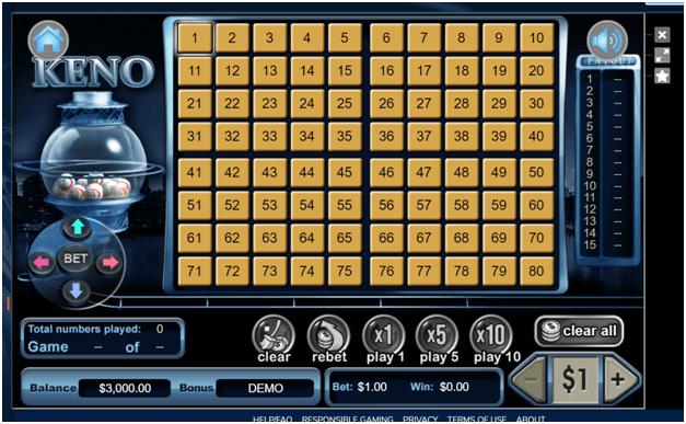 Keno gameplayat Liberty slots