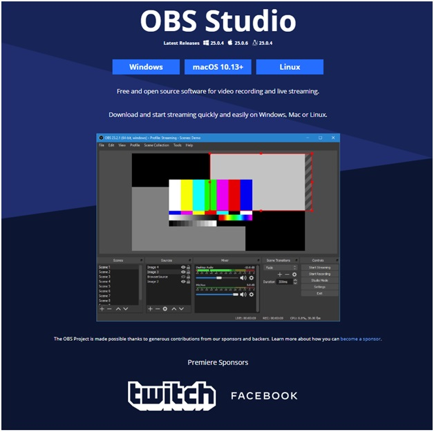 OBS software to stream live videos