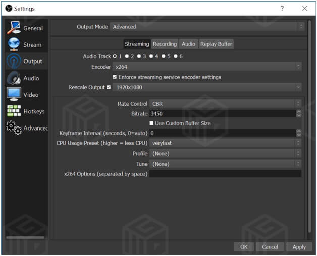 OBS software for live streaming of videos- settings