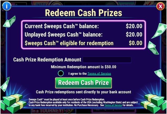 Redeem cash prizes