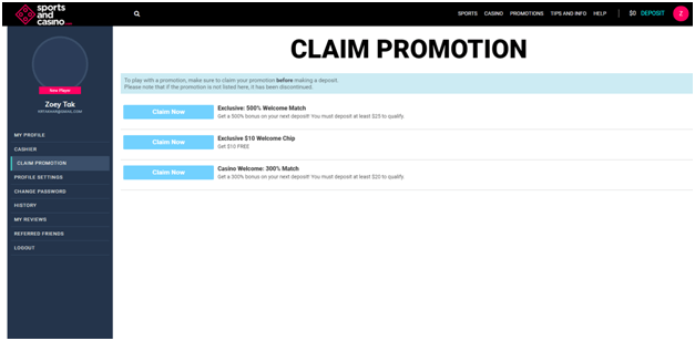 Claim promo codes