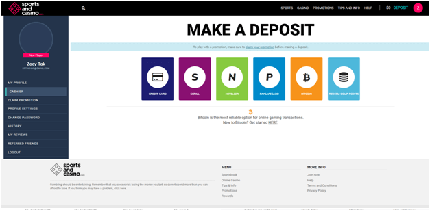 Sports and casino deposits in BTC