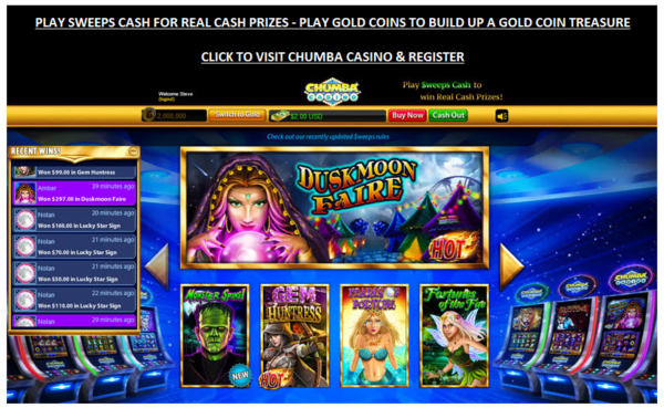 Sweepstakes at Chumba Casino