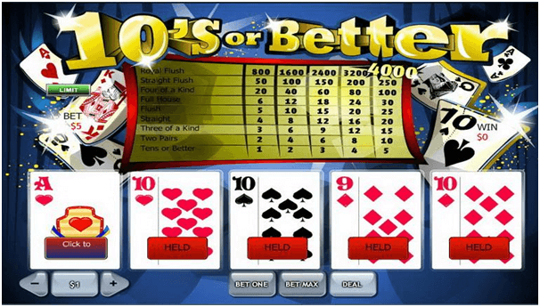 Video poker at casinos
