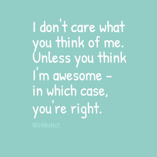 I don't care what you think of me. Unless you think I'm awesome - in which case, you're right.