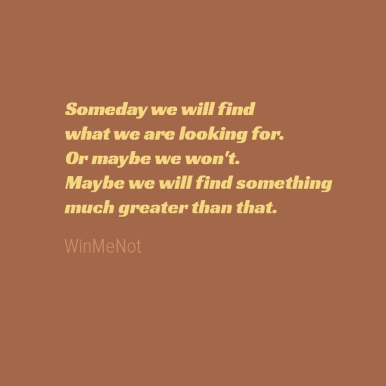 Someday we will find what we are looking for. Or maybe we won't. Maybe we will find something much greater than that.